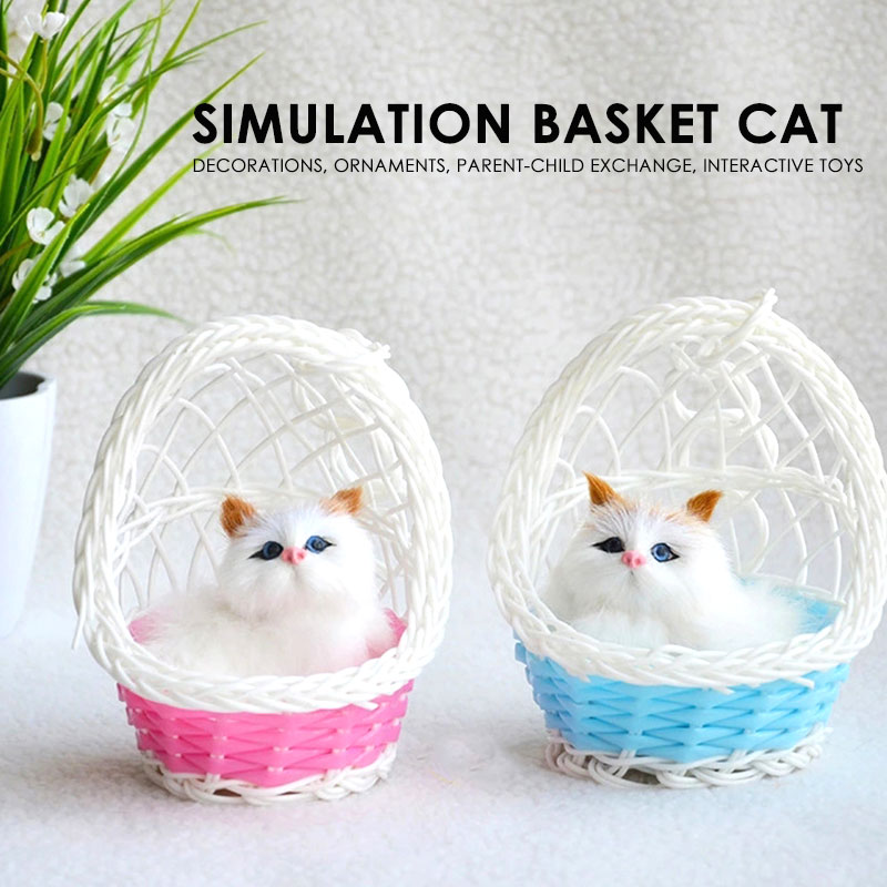 Children real plush toys sleeping animals lifelike cat dolls realistic simulation creative home decoration kids kitten model pet