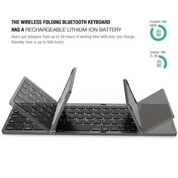 AVATTO Russian/Spanish/Arabic B033 Mini Folding keyboard, Wireless Bluetooth Keyboard with Touchpad for Windows, Android, IOS 5