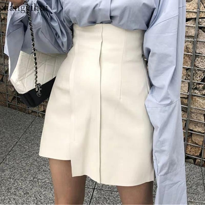 2020 New Spring Summer Women's Leather White Skirt Pu Black High Waist Bottom Short Asymmetric Mini Skirts Female Clothes
