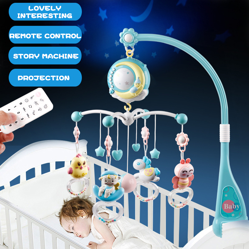 Toys-Holder Mobile-Bed Musical for Newborn 0-12-Months Baby Rattles Bell Projection-Toys