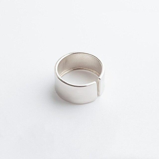 ANENJERY Temperament wysoki połysk szerokość powierzchni pierścień otwierający 925 srebrny pierścień biżuteria dla kobiet mężczyzn prezenty S-R545