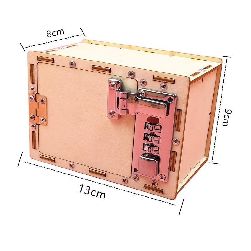 Brinquedo de madeira, quebra-cabeça de senha, tecnologia criativa, gizmo, diy, bloqueio mecânico, brinquedos para estudantes, equipamento educativo, 1 peça