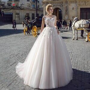Image 2 - Baziingaa luxo vestido de casamento de seda organza apliques com decote em v sem mangas renda vestido de casamento suporte sob medida feito