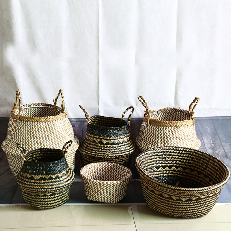 WHISM Seagrass Storage Basket Flower Pot Natural Rattan Basket Plant Pot Toys Holder Laundry Basket Container Home Decoration(China)
