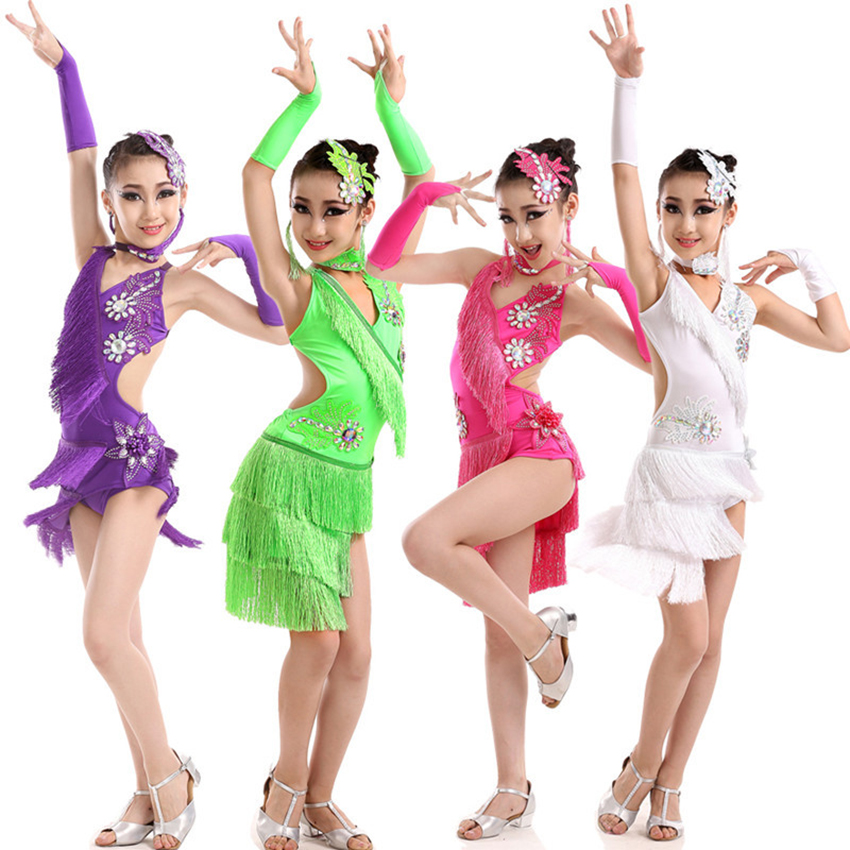 Fringe Dress Baby Girl Costume Adult Women Spandex Salsa/Ballroom/Tango/Cha Latin Dance Dress For Dancing Lady Clothes Tassel