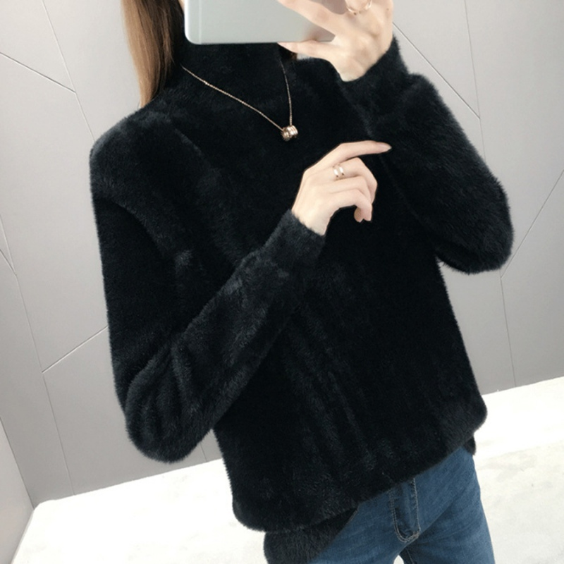 Winter Turtleneck Women AutumnLong Sleeved Half High Collar Pullover Thick Warm Knitted Sweater Tops