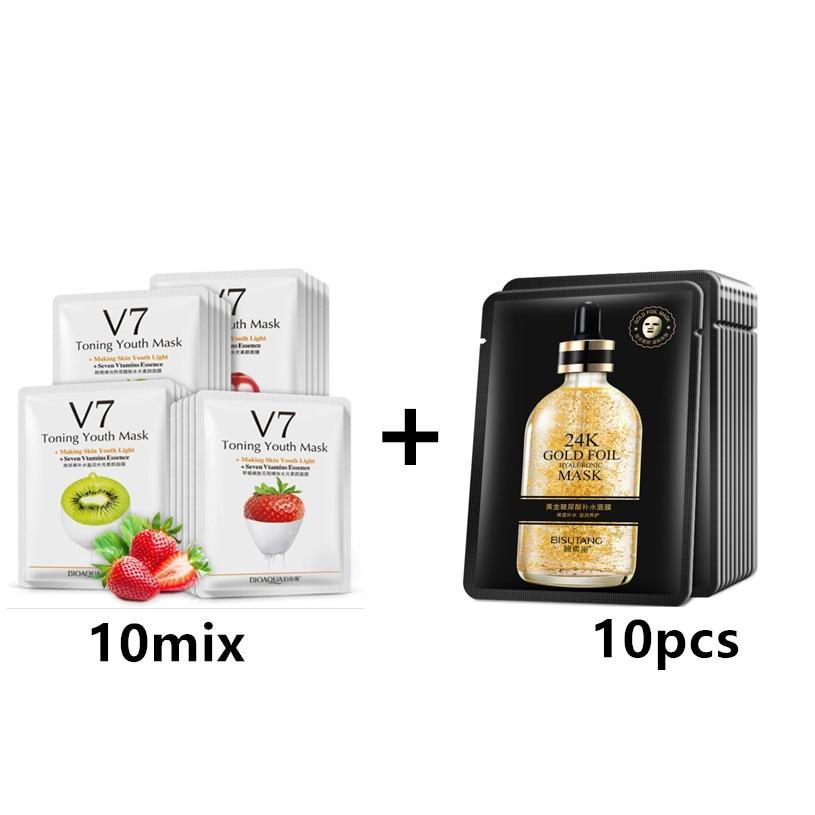 20 Pcs BIOAQUA 24K Gold Nicotinamide Mask Korea Skin Care Mask Combination V7 Essence VC Strawberry Apple Mask Beauty Skin Care