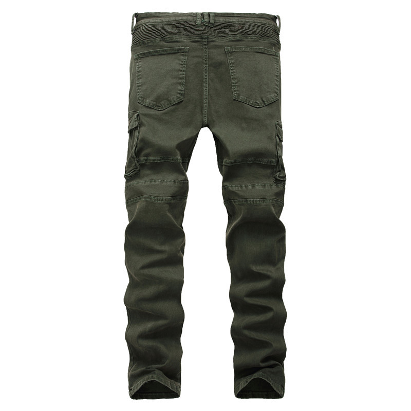 21 High Quality Men Jeans Pants With European Style Mens Slim Fit Vintage Denim Pants Army Green Biker Jeans Hommes Dropshipping