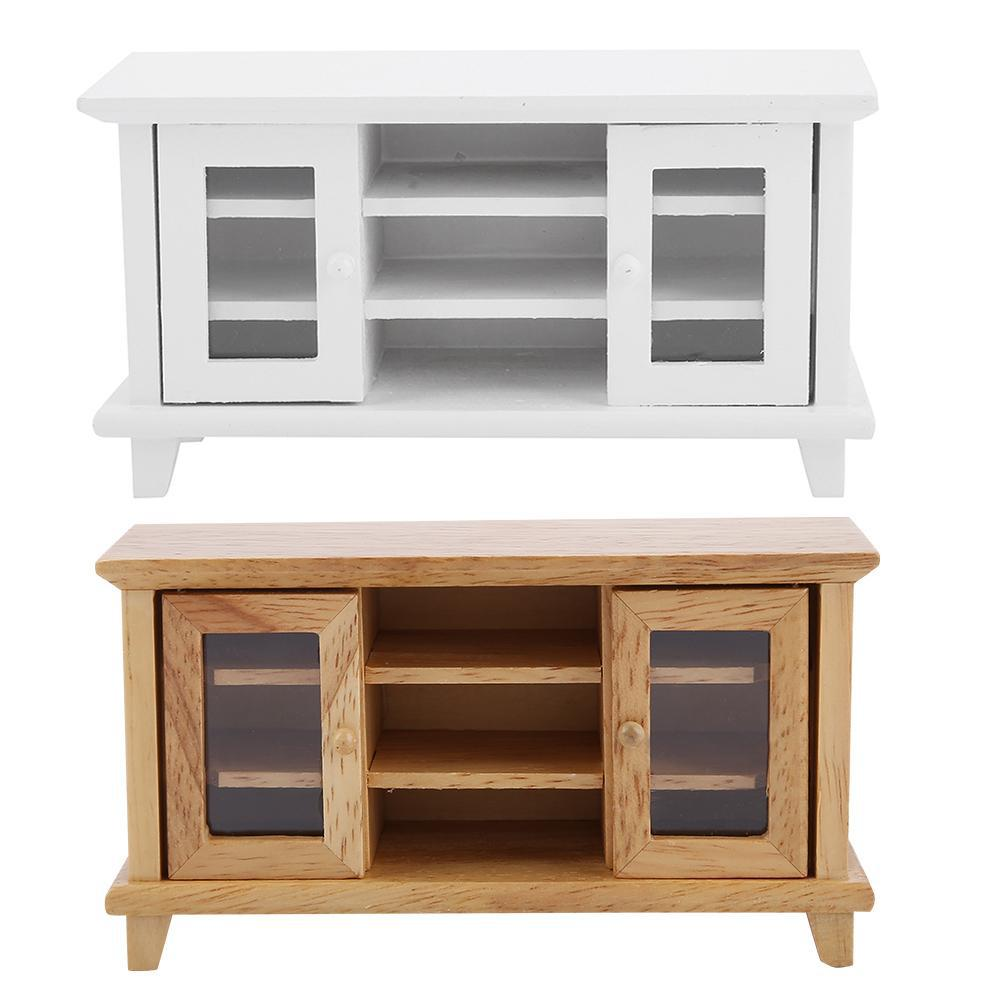 1: 12 Doll House DIY Hut Mini Furniture Model Ob11 Living Room Scene Two-door Show Side Cabinet TV Cabinet