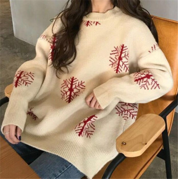Sweater Women Loose Jumpers Red Autumn Korean Long Sleeve Christmas Fashion Beautiful Sweater Female O-Neck women Sweater 1