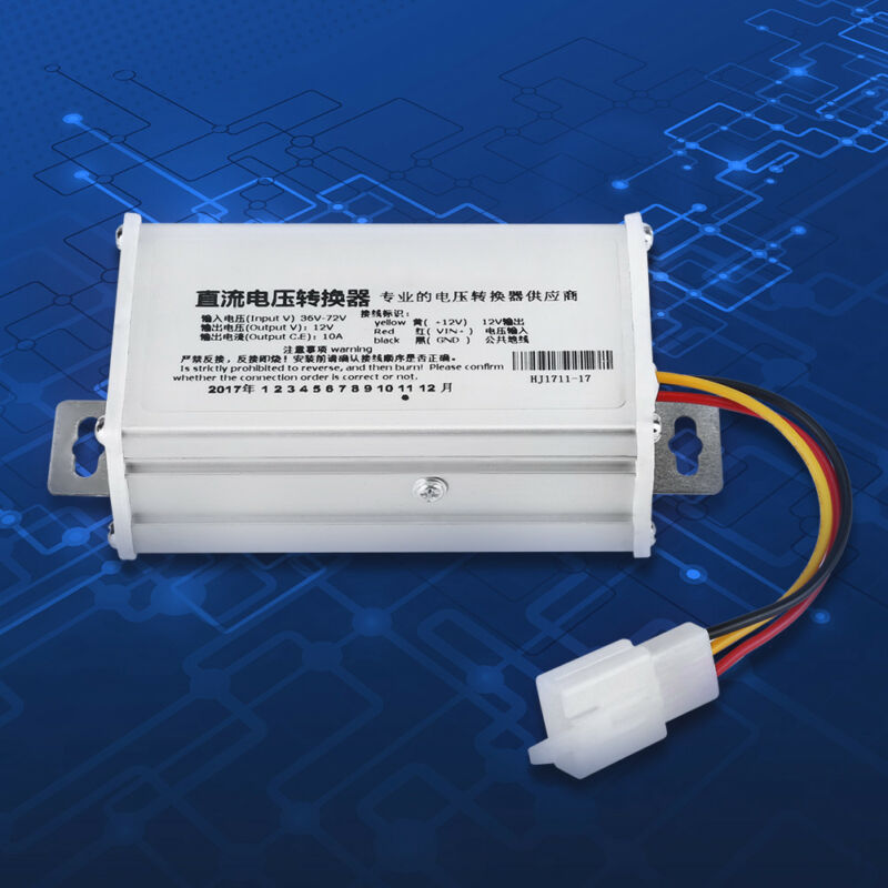 1* Electric Scooter Converter DC 36V-72V To 12V 10A Electric Bicycle Converter Adapter Down Transformer High Quality New