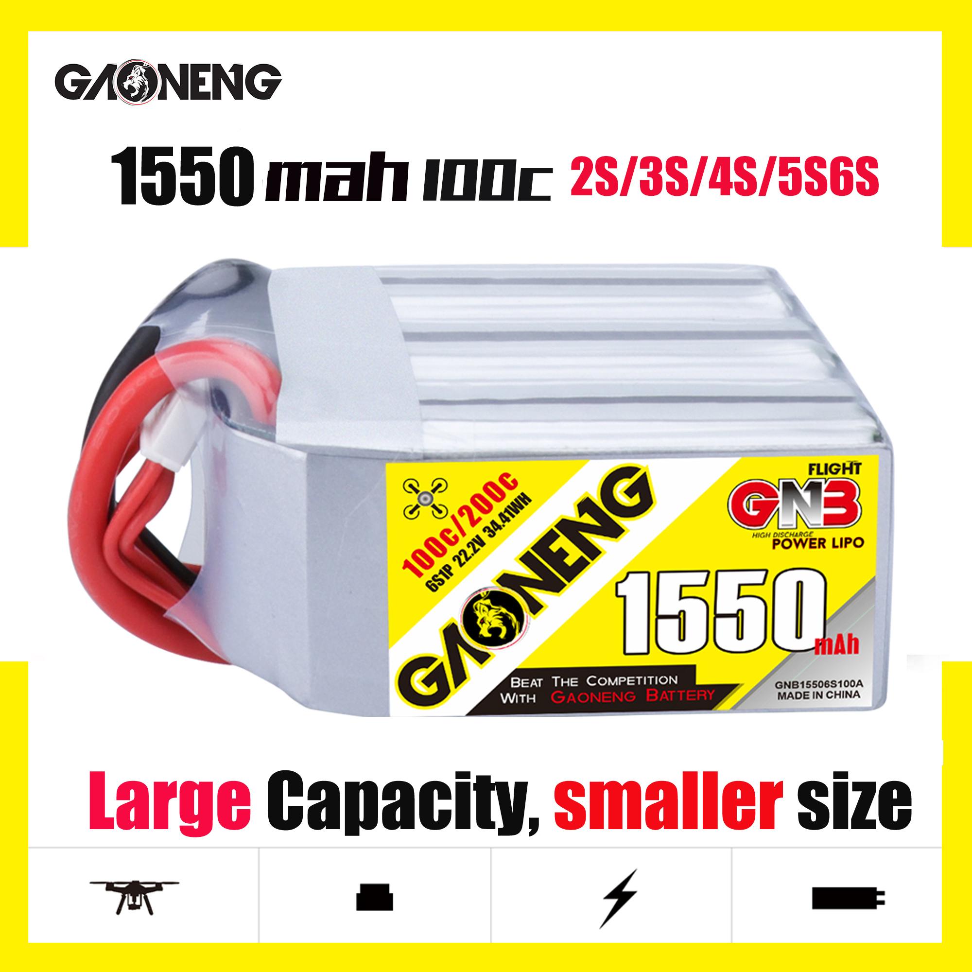 Gaoneng GNB 1550mAh 100C 2P 2S 3S 4S 5S 6S 4-axis FPV Battery 7.4V-22.2V High Power Batteries Smaller Large Capacity