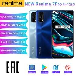 Realme 7 Pro глобальная версия 6,4 ''8G 128 Гб 64-мегапиксельная четырехъядерная камера 4500 мАч Snapdragon 720 г 65 Вт SuperDart заряда Super AMOLED в полноэкранном режиме