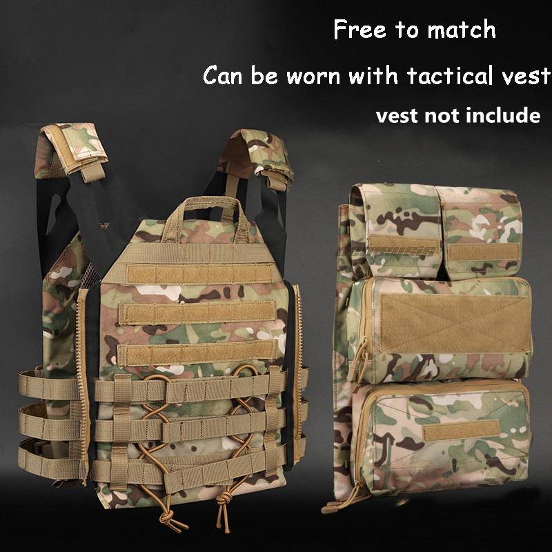 J P C Tactical Vest Zipper-on Panel Bag Pouch Outdoor Hunting Shooting Vest Accessory Bag Military Vest Plate Carrier Bags