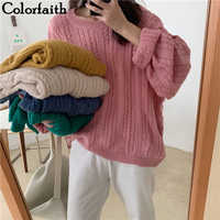 Colorfaith 2019 New Autumn Winter Women Sweaters Pullovers Minimalist Knitting Elegant Casual Loose Ladies Female Tops SW6613