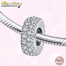 925 Sterling Silver CZ Charms Bracelet DIY Round Shape Beads Fit Bracelet Charms Silver 925 Original Beads For Jewelry Making