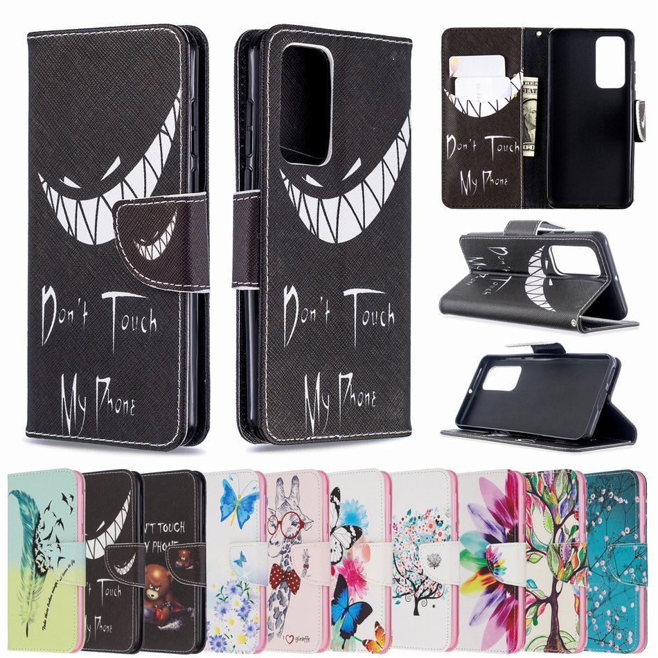 Colorful Painted Cute Flip Phone Case For Samsung A01 A11 A31 A41 A51 A71 A70 A30 A20 S20 Ultra S10 Plus Note 10 Pro J6 J4 P07G image
