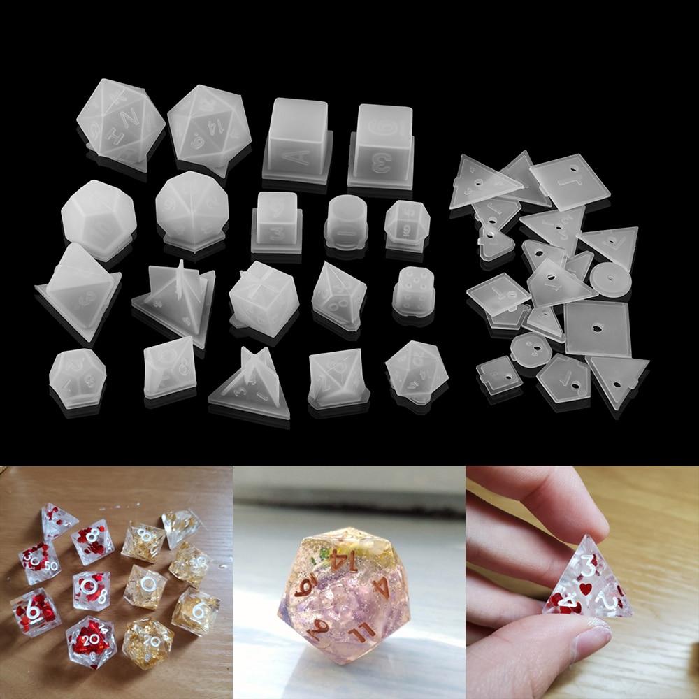 Силиконовые формы в виде игральных костей, 19 форм, квадратные треугольные кубики, для рукоделия, аксессуары для изготовления украшений
