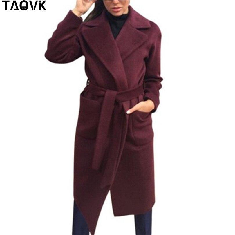 TAOVK Women's Jackets & Coats Medium-long Belt Wool & Blends Coat Turn-down Collar Solid Color Pockets Parka