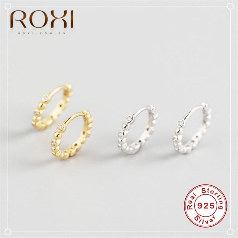 ROXI Korean Jewellery Simple Mini Zircon Beads Earring 100% 925 Sterling Silver Small Circle Stud Earrings For Women Girls Gifts