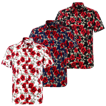 Summer Pure Cotton Mens Hawaiian Shirt Loose Printed Short Sleeve Big Us Size Hawaii Flower Men Beach Floral Shirts 2
