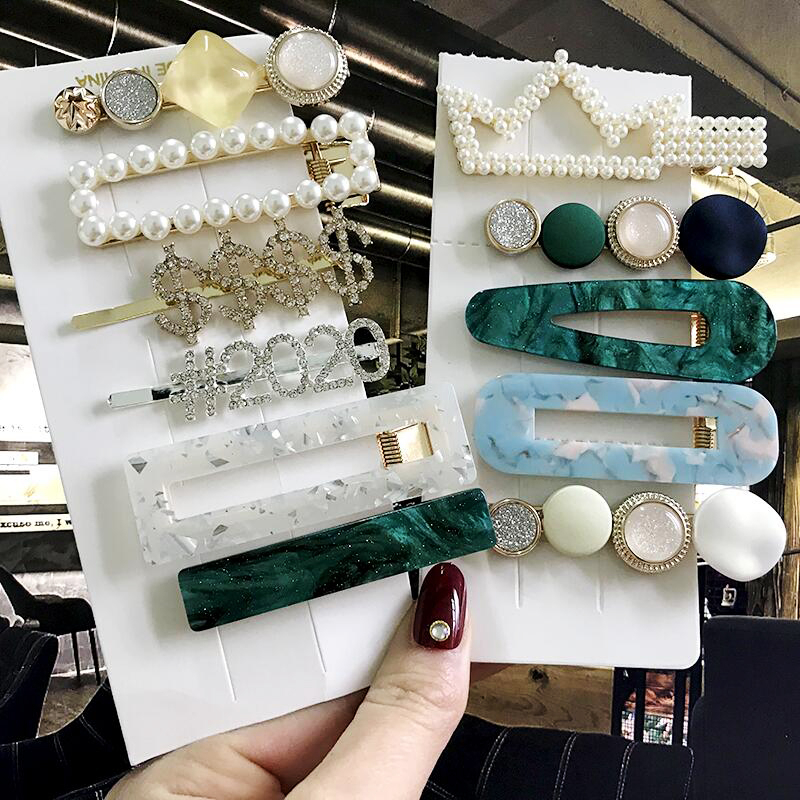 2020 New Ins 1Set Women Girls Pearl Hair Clips Sweet Headwear Hairpins Hair Ornament Barrettes Hairgrip Fashion Hair Accessories