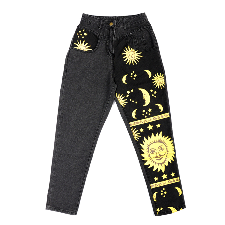 Fashion Sun Star Printed Pants Jeans Women Autumn Black High Waist Young Girls Chic Denim Trousers Woman Cool Boyfriends Jeans