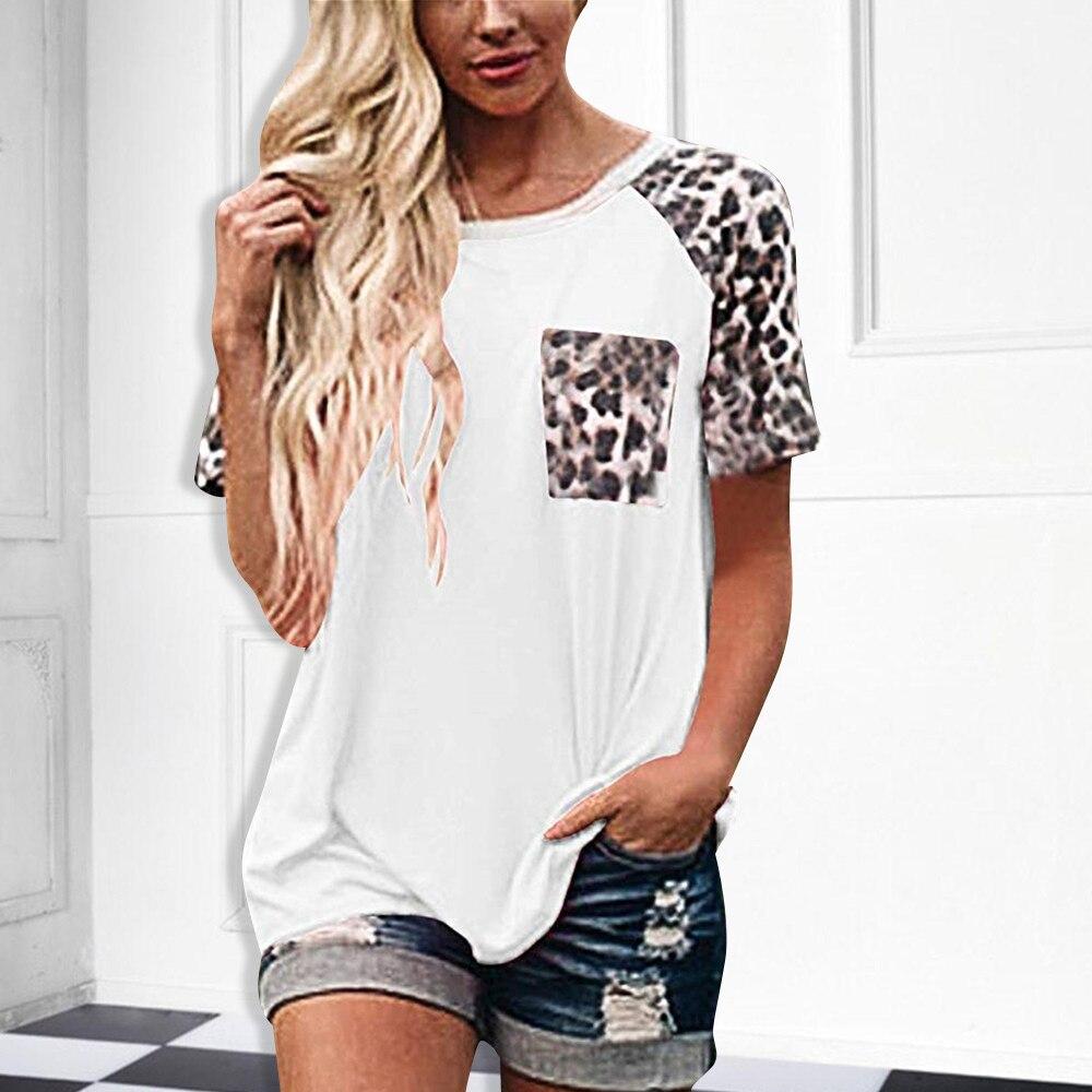 Женская летняя сексуальная леопардовая футболка с короткими рукавами и круглым вырезом, Лоскутная леопардовая рубашка с карманом, базовая ...