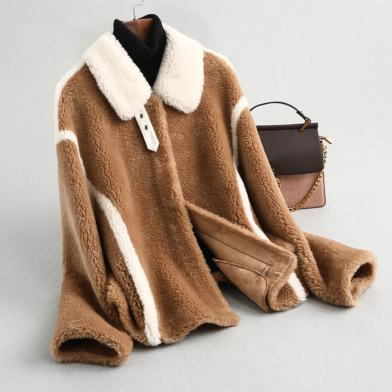 Fur Real Coat Female Sheep Shearling Fur Korean Jackets 2020 Autumn Winter Jacket Women Outwear Chaqueta Mujer MY3502