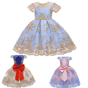 Elegant Queen Wedding Girl Lace Princess Bow Dress Student Music Performance Party Baby Fluffy Tutu Children's Clothing