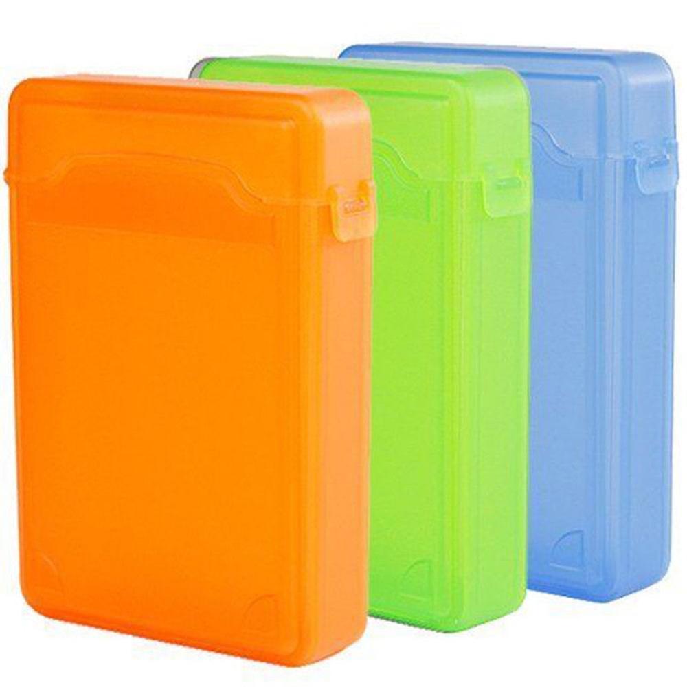 3.5'' Storage Case For SATA IDE HDD Hard Disk Drive Dustproof Protection Box Storage Case Orange Green SSD Hdd Enclosure Cases