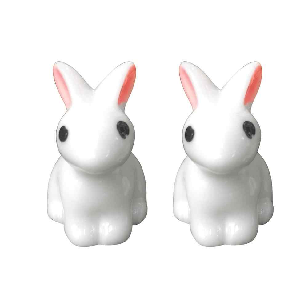 1 Uds Mini conejo adorno de jardín figura en miniatura para maceta Hada bonita resina sintética pintada a mano Mini conejo Decoración