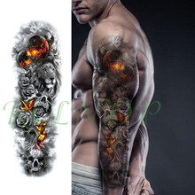 Waterproof Temporary Tattoo Sticker lion flower butterfly skull full arm large fake tatto flash tatoo stickers for men women(China)