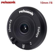 Pergear 10mm f8 panqueca fisheye lente da câmera APS-C formato 80g peso leve para sony e-montagem canon eos-m/fuji/m4/3 montagem