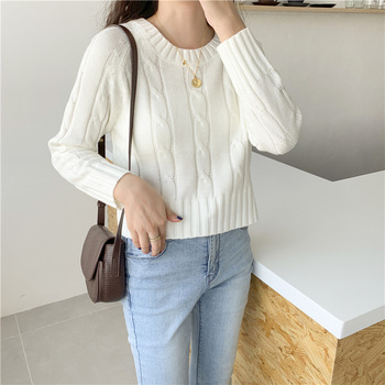 Ailegogo New 2020 Winter Women's Crop Top Sweaters Tops Fashionable Korean Style Knitting Casual Solid Pullover O-neck 1