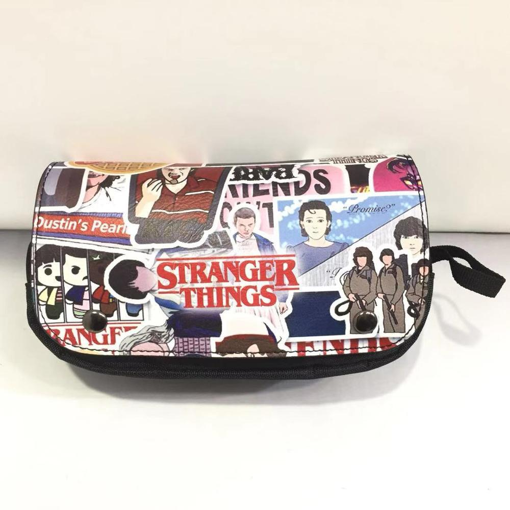 Anime Stranger Things Pencil Bags Students Stationery Supply Pen Pencil Holder Cartoon Leather Purse Gift Cosmetic Case Bag