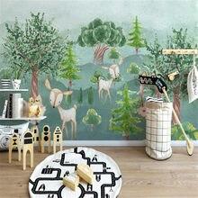 Milofi – papier peint photo personnalisé, impression 3D, peint à la main, dessin animé animal forêt, arrière-plan de chambre d'enfants, décoration murale de la maison