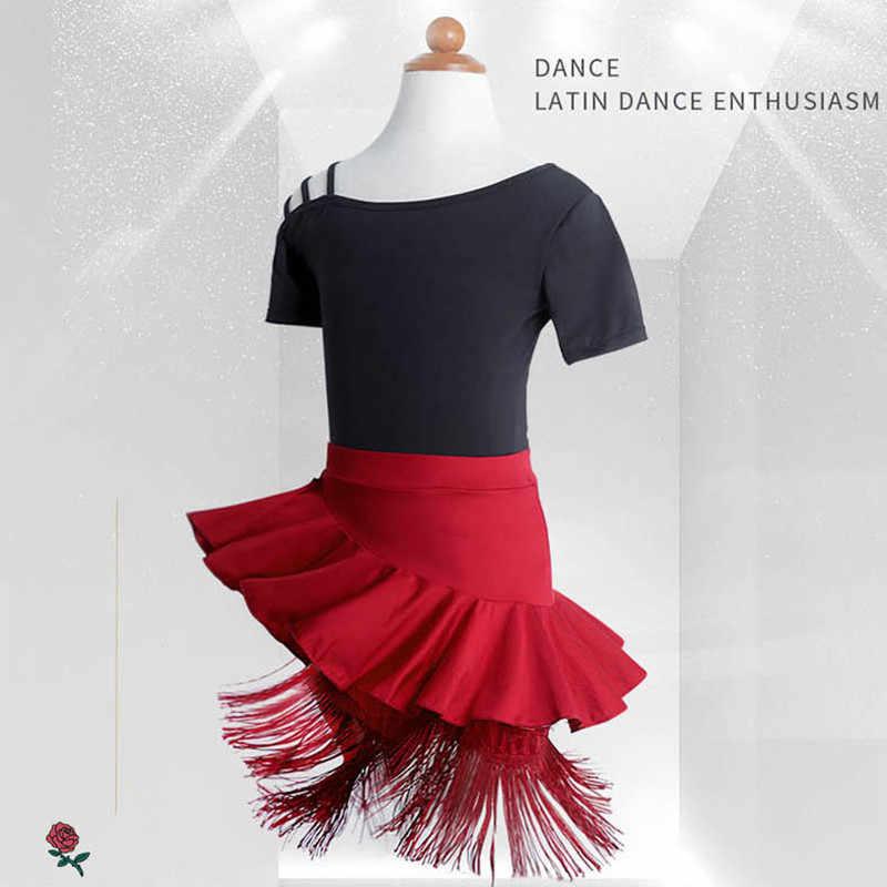 Bahu Keluar Latin Fringe Gaun Wanita Kinerja Hitam Merah Tango Cha Cha Anak-anak Gaun untuk Gadis