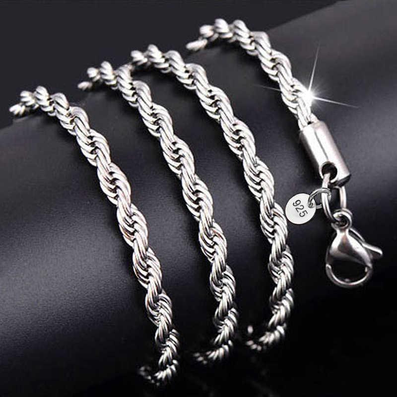 Gorąca sprzedaż detaliczna hurtownia srebrny naszyjnik kobiety mężczyzna naszyjnik 2mm16, 18,20, 22,24 cala lina kręcona łańcuch biżuteria akcesoria 925 znaczek