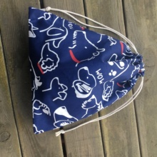 1pc Cotton Twill Drawstring Pouch Party Gift Bag Print Drawing Dog Navy Base 01030c