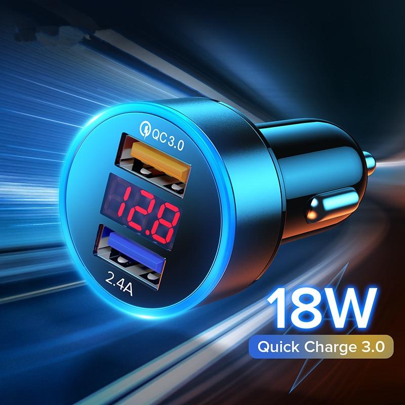 Быстрая зарядка 3.1A зарядное устройство для автомобиля с двумя портами USB QC 3,0 светодиодный дисплей Мобильный телефон зарядное устройство дл...