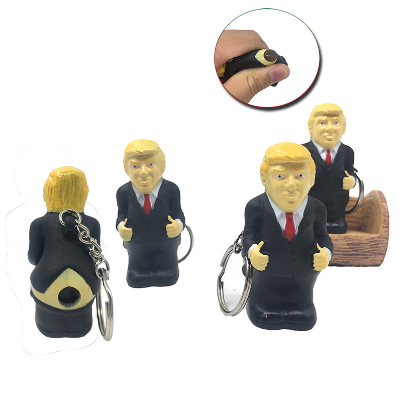 Keyring Funny Car Spoof Toy Poop Keychain President Donald Trump Doll Pendant Squeeze Simulation Funny Toy Poop Spoof Bag
