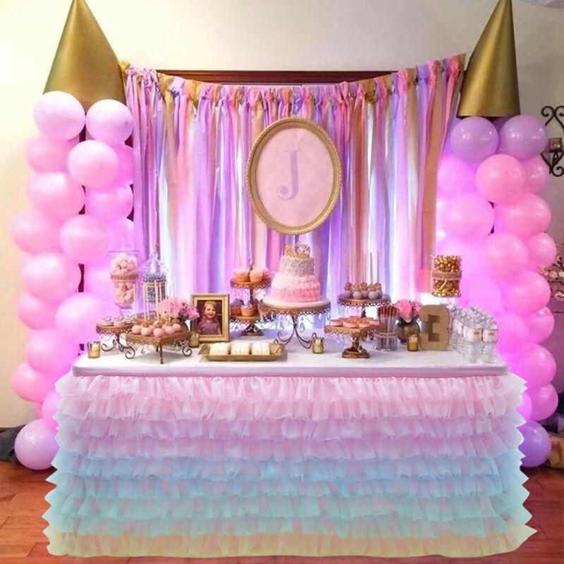 Wedding Party Tulle Tutu Table Skirt Tableware Birthday Baby Shower Xmas Decor