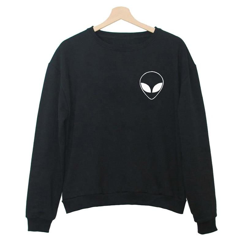 Alien Print Solid Hoodies Sweatshirts 2019 Women Casual Kawaii Harajuku New Sweat Punk For Girls Clothing European Tops Korean
