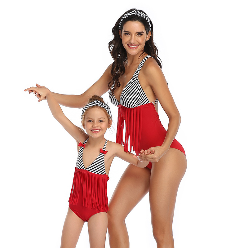 2020 Mom Kids Swimsuit Family Matching Swimwear Mother Daughter Taseel Bikini Bathing Suit Brachwear Swimwear Outfits Swimsuit