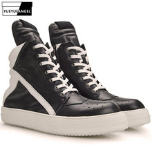 Men Shoes 2021 New High-Top Ankle Boots Genuine Leather Luxury Trainers Boots Casual Lace-up Zipper Flat Black White Shoes