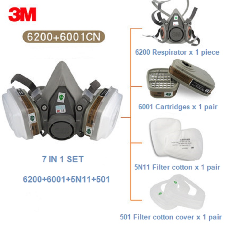 7 In 1 3M 6200 Half Gas Respirator Organic Vapor Protection 6001 Filter Cartridges Construction Paint Spray Respirator Dust Mask