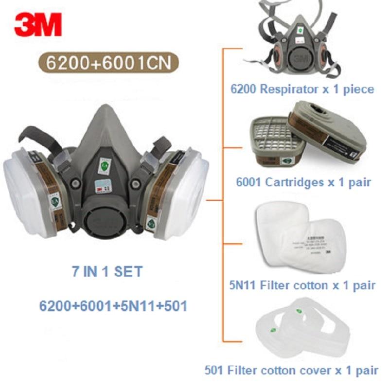 7 In 1 3M 6200 Half Gas Respirator Organic Vapor Protection 6001 Filter Cartridges Construction Paint Spray Respirator Dust Mask