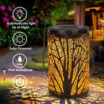 Outdoor Lighting Solar Power LED Hanging Garden Yard Lawn Decoration Lamp Tree Branch Pattern Lights for Patio Outside or Table image