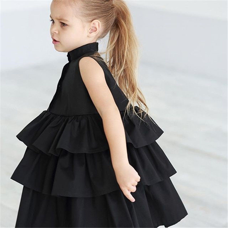 Summer Cute Black Green Ball Gown Girls Dresses Kid Girl Party Dress Sleeveless O Neck Cake Ruffled Tutu Bubble Dress 2-6T 3